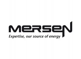 Mersen logo in black with baseline